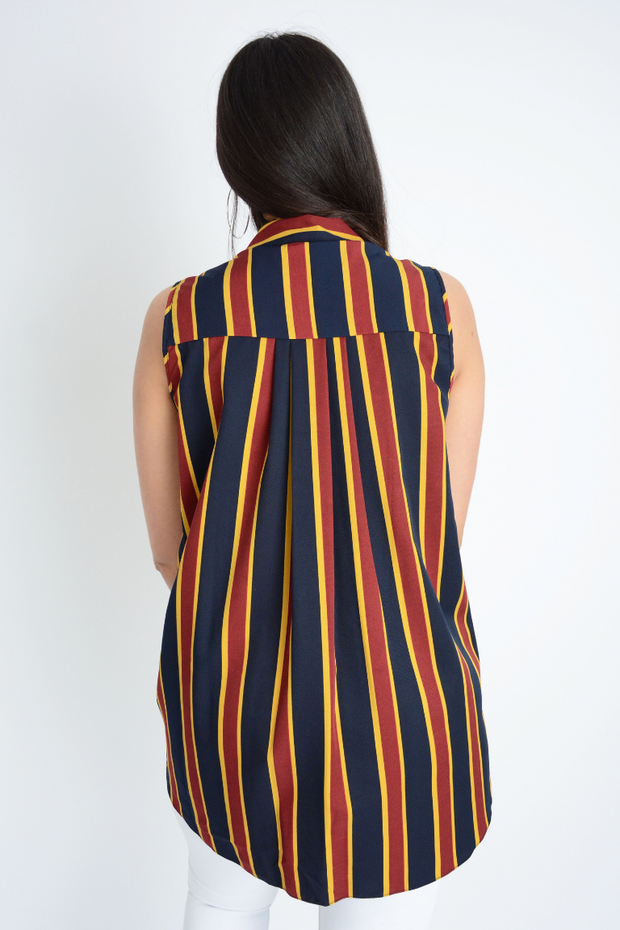 Navy Colour Block Stripe Longline Plus Shirt