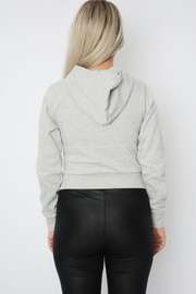 Light Grey Jersey Cropped Hoodie Sweater