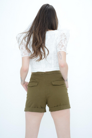 French Connection Khaki Tailored Shorts