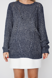 Navy Cable Knit Long Sleeve Jumper