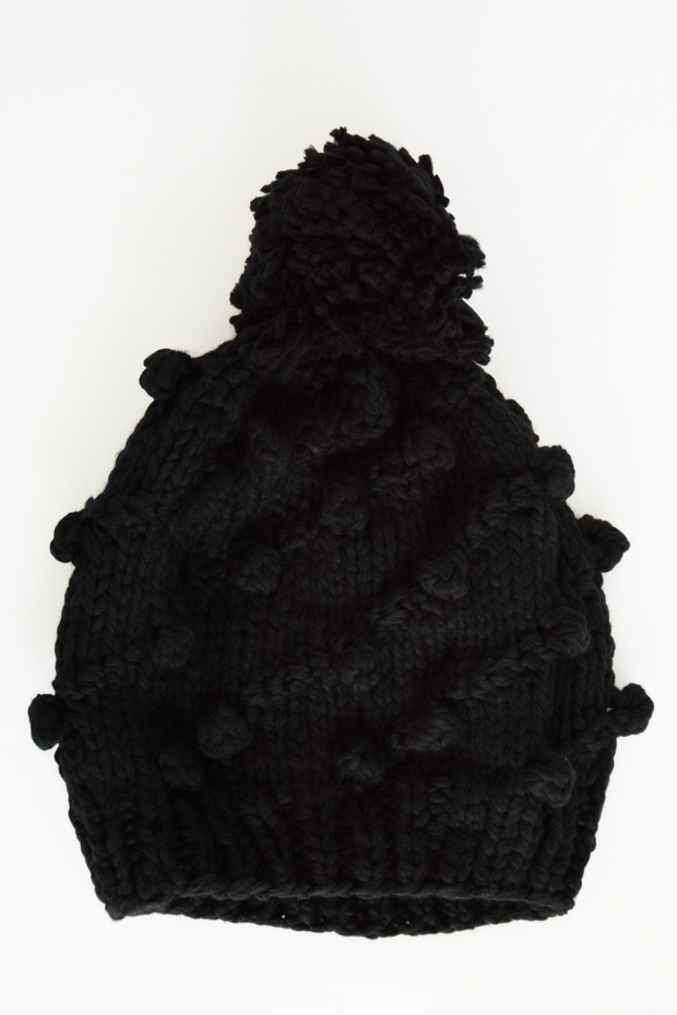 Black Chunky Pom Pom Bobble Hat