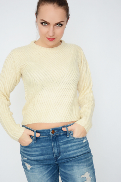 Beige Cropped Knitted Jumper