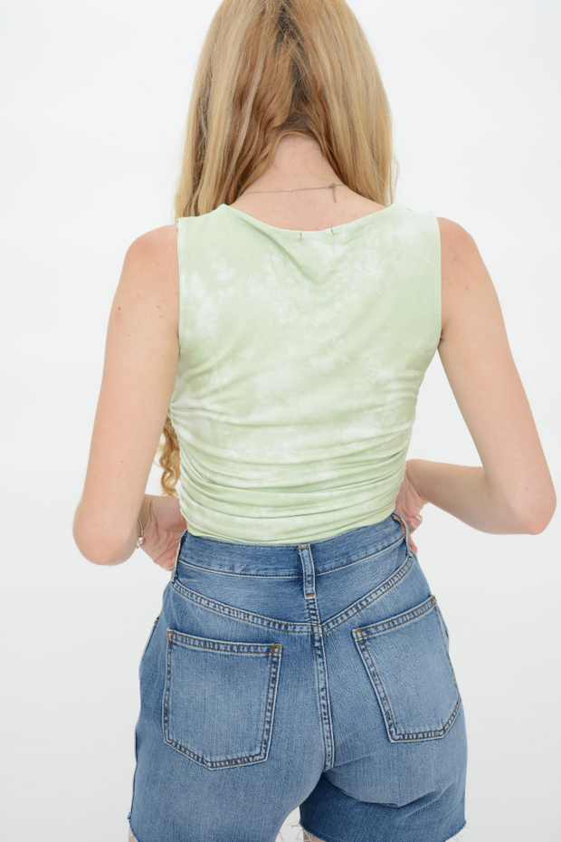 Sea Green Scoop Neck Cropped Top