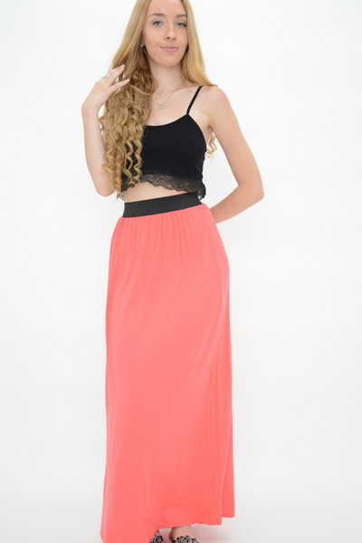 Salmon Jersey Long Maxi Dress
