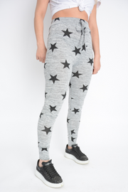 Grey Star Print Light Knit Joggers