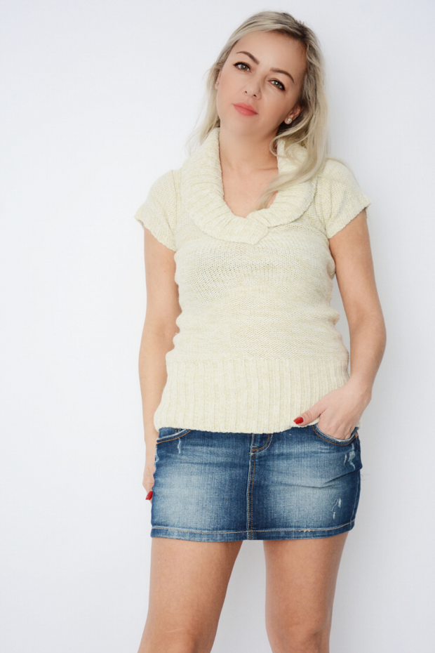 Beige Cable Knit Short Sleeve Jumper