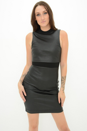 FRENCH CONNECTION WET LOOK BODYCON PENCIL DRESS