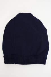 Navy Tiger Print Fine Knit Beanie Hat
