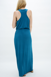 Cobalt Blue Jersey Racer Back Maxi Dress