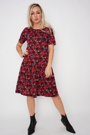 French Connection Red Ditsy Jersey Tea Dress