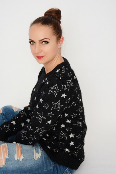 Black Star Print Soft Fluffy Jumper