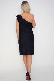 French Connection Navy One Shoulder Pencil Knit Dress