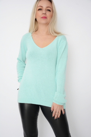 Mint Green V Neck Lightweight Fine Knit Jumper