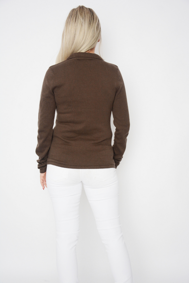 Brown Soft Knit Button Cardigan