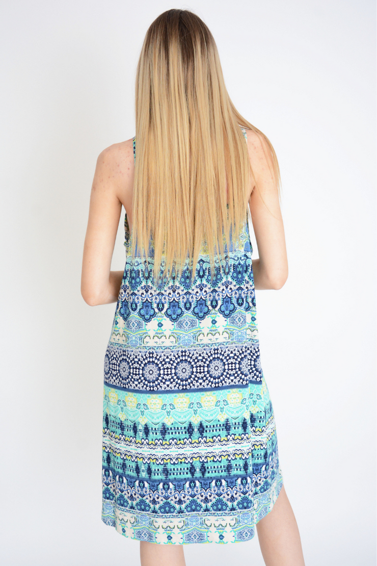 Blue Asymmetric Slip Dress