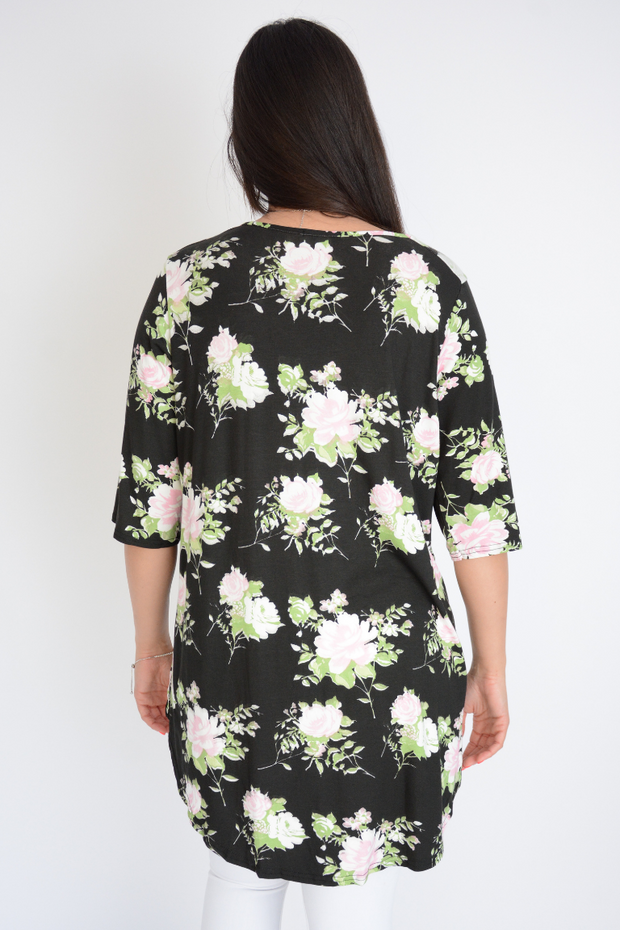 Floral Print Jersey Longline Top