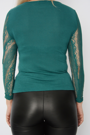 Green Lace Fitted Basic Top
