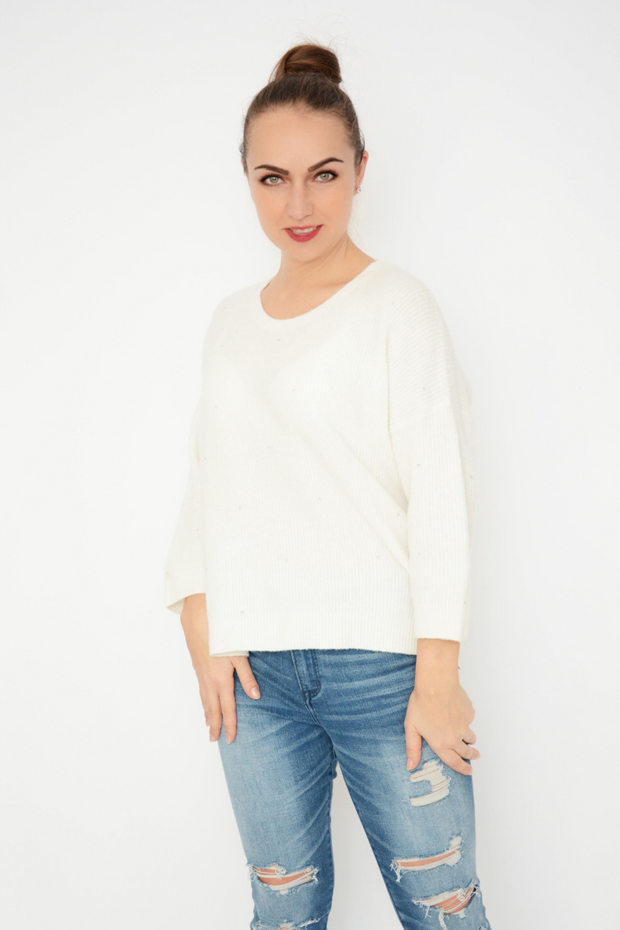 French Connection White Sequin Soft Knit Jumper