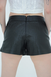 French Connection Black Croc Judy Jegs Coated Shorts