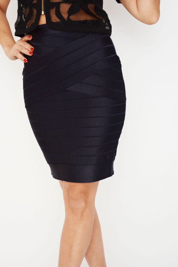 French Connection Navy Knit Pencil Skirt