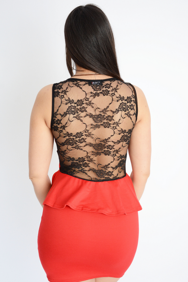 Lace Peplum Fitted Mini Dress