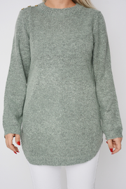 Mint Green Soft Knit Curved Hem Jumper