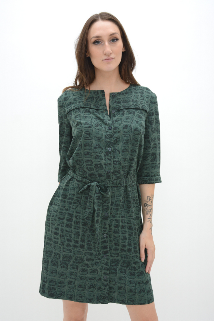 FRENCH CONNECTION GREEN TIE UP SHIRT DRESS