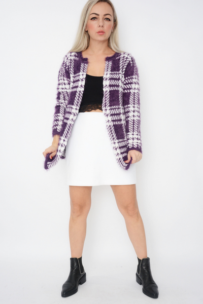 Purple Grid Design Soft Fluffy Knit Cardigan