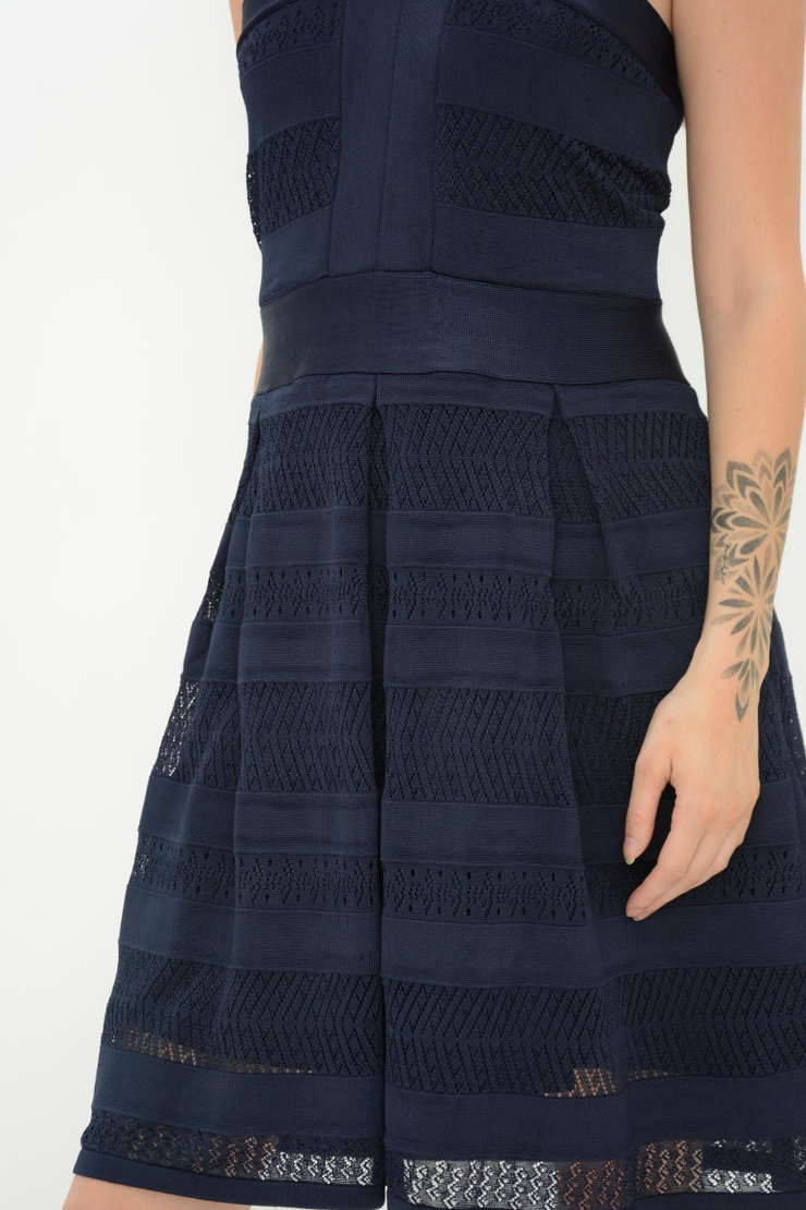 French Connection Navy Knitted Lace Fit and Flared Dress