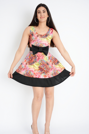 Pink Floral Contrast Bow Scuba Fit & Flared Dress