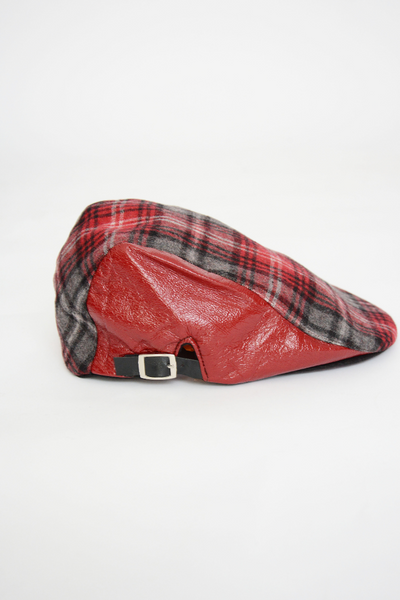 Red Check Leather Cap