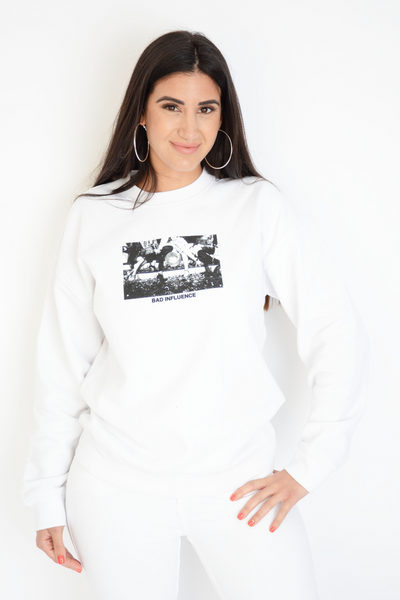 White Bad Influence Logo Sweater