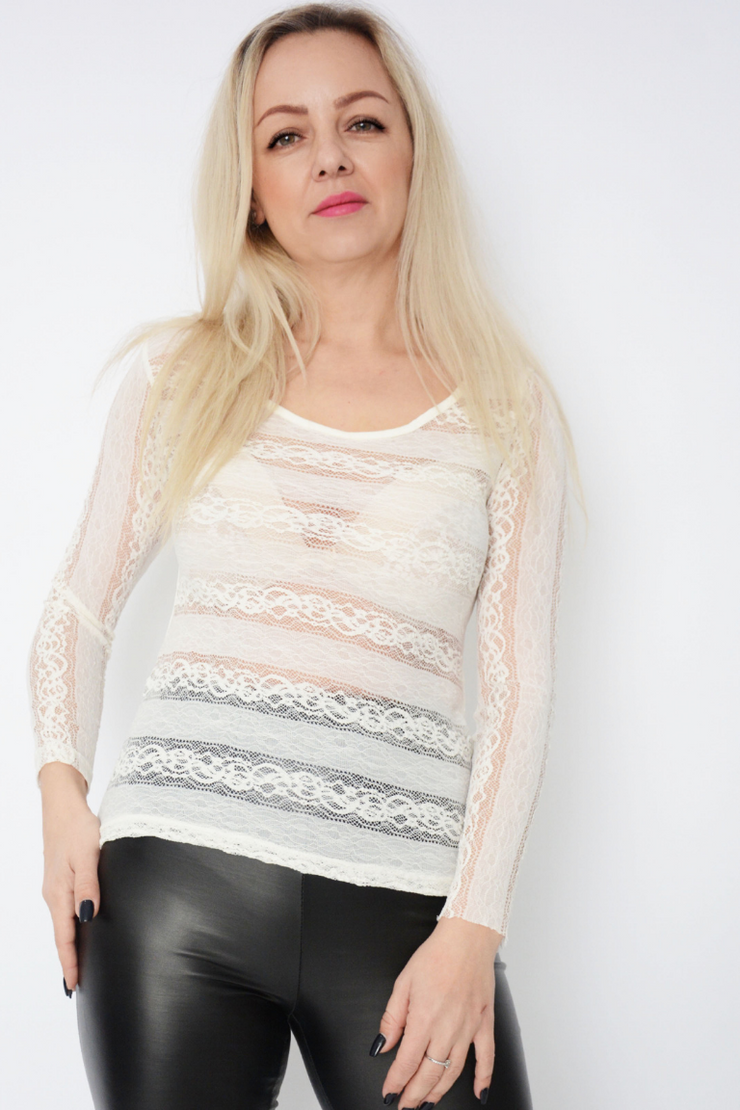 Cream Lace Fitted Basic Top
