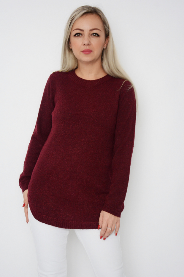 Burgundy Soft Knit Curved Hem Jumper
