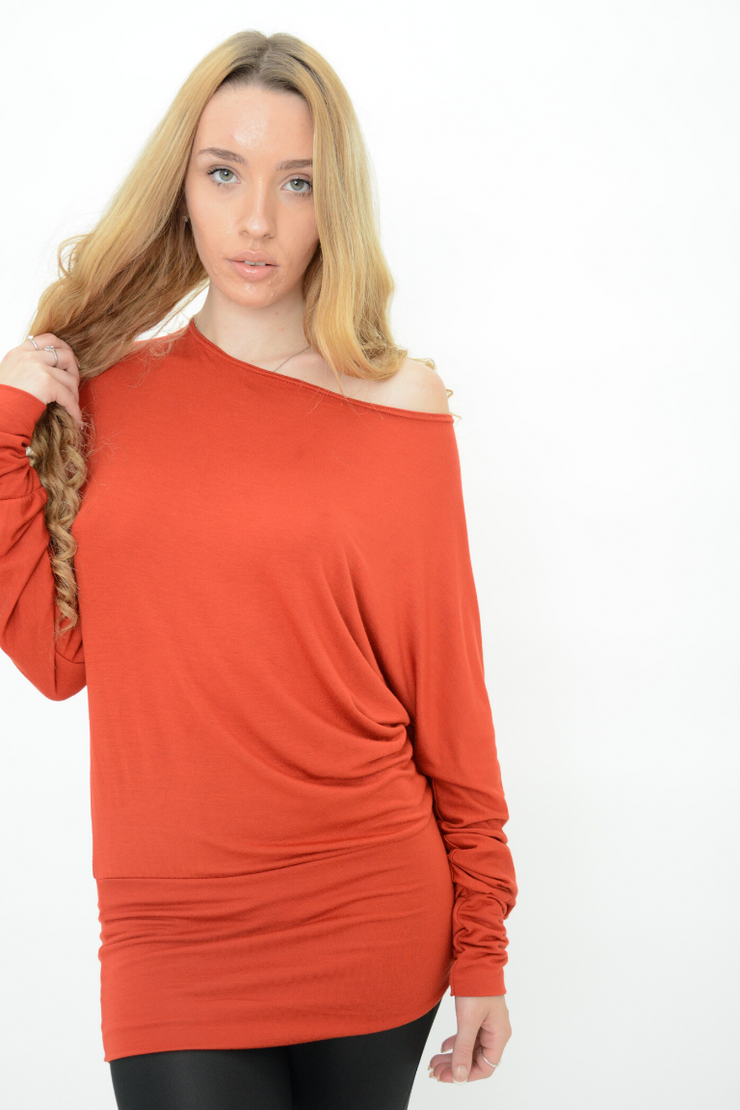 Rust Longline Jersey Casual Top