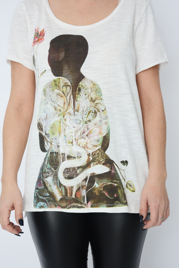 White Graphic Figure Cotton Casual T Shirt