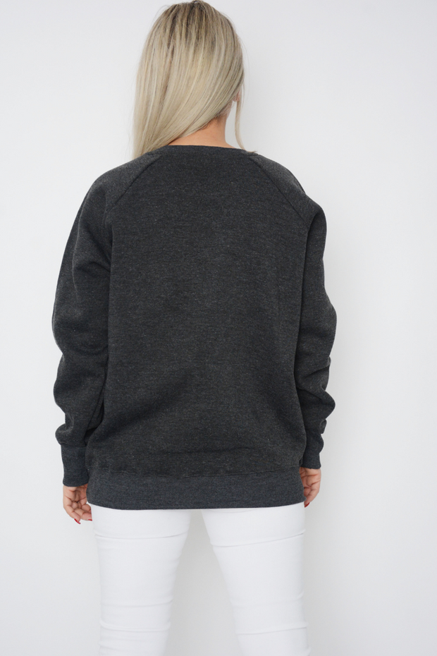 Charcoal Logo Jersey Long Sleeve Sweater