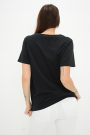 FRENCH CONNECTION BLACK EMBELLISHED NECK TEE
