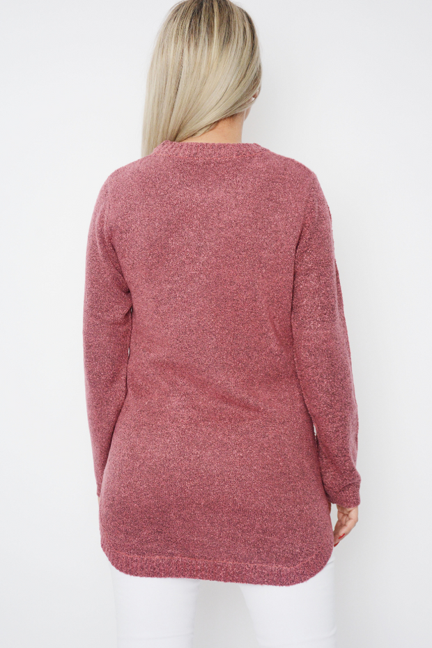 Mauve Soft Knit Curved Hem Jumper