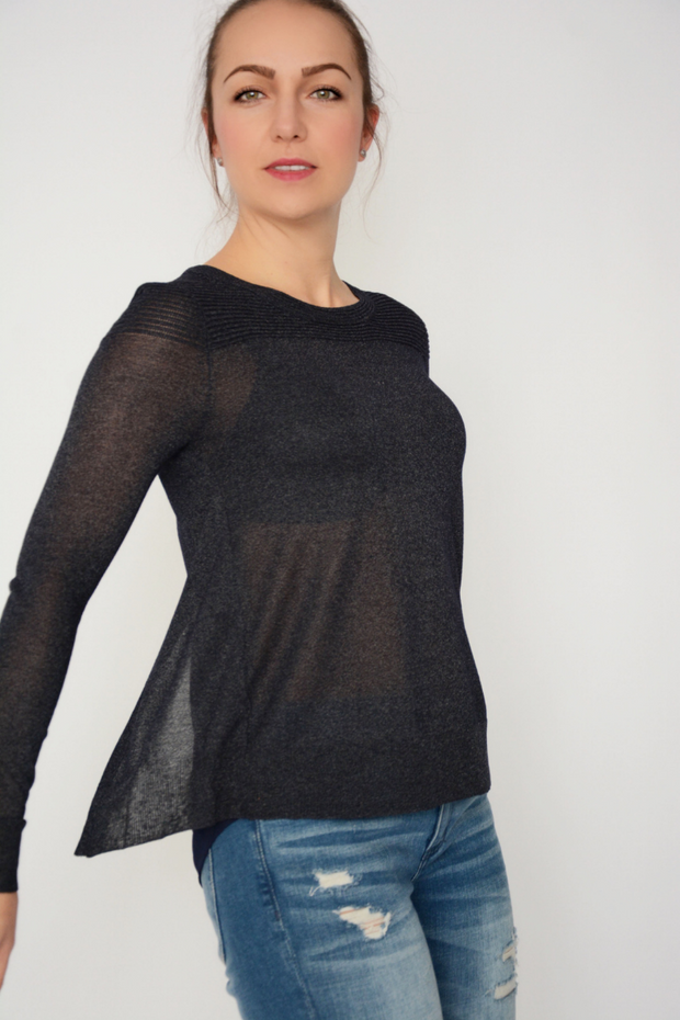 French Connection Navy Shimmer Split Back Top