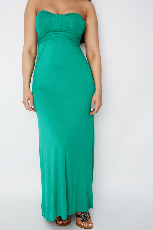 Jade Green Bow Jersey Maxi Dress