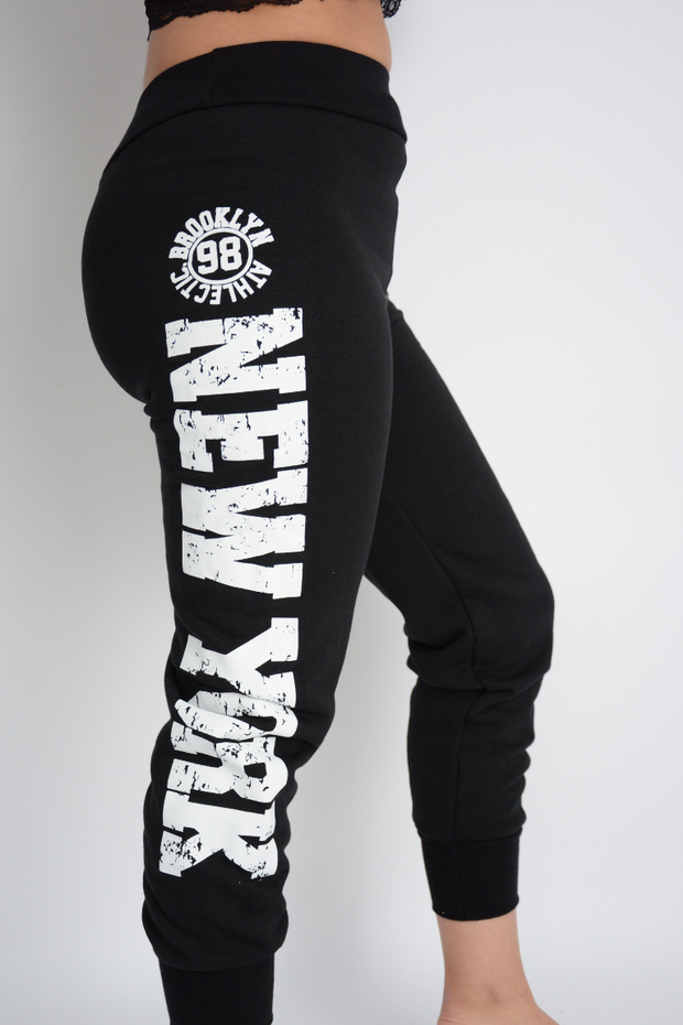 Black New York Logo Regular Fit Joggers