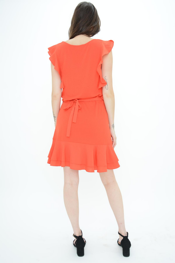 FRENCH CONNECTION RED JERSEY FRILL CASUAL DRESS