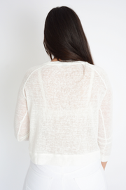 Cream Lightweight Fine Knit Top