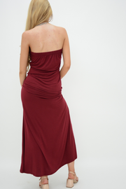 Burgundy Bow Bandeau Jersey Maxi Dress