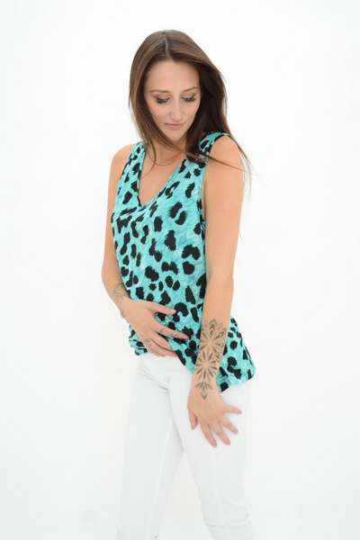 French Connection Blue Leopard Print Jersey Top