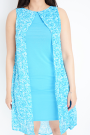 Blue Paisley Chiffon 2 Layer Shift Dress