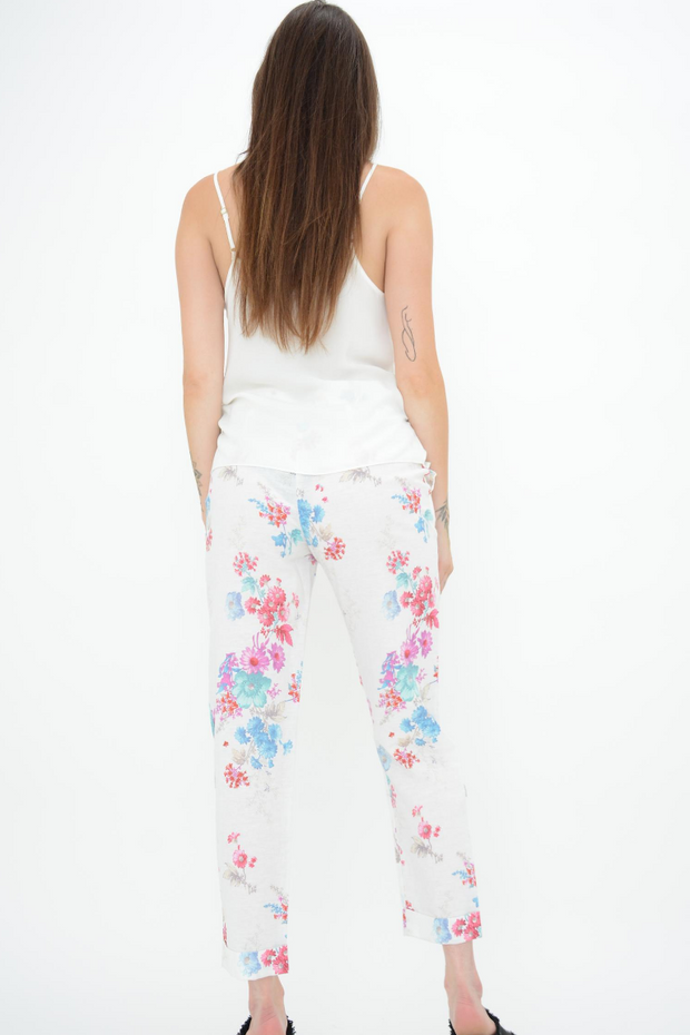 FRENCH CONNECTION WHITE FLORAL STRAIGHT LEG TROUSERS
