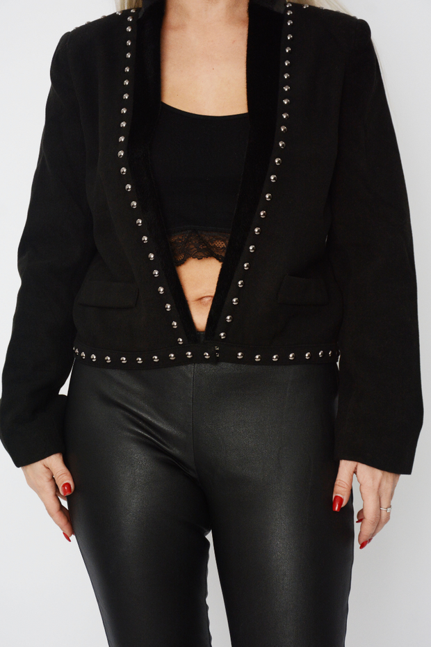 Black Wool Texture Studded Blazer Jacket