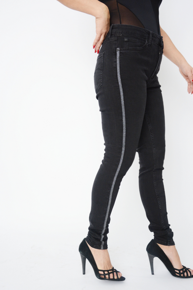 Black High Waist Side Stripe Slim Fit Jeans
